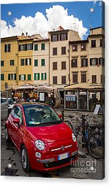 Little Red Fiat Acrylic Print by Inge Johnsson