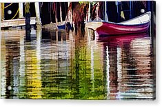 Acrylic Print featuring the photograph Little Red Row Boat by Pamela Blizzard