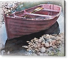 Little Red Rowboat Acrylic Print by Philip White