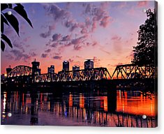 Little Rock Bridge Sunset Acrylic Print