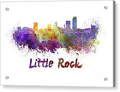 Little Rock Skyline In Watercolor Acrylic Print by Pablo Romero
