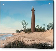 Little Sable Point Lighthouse Titled Acrylic Print by Darren Kopecky