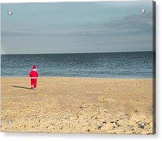 Little Santa On The Beach Acrylic Print