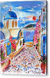 Little Santorini Alley Acrylic Print