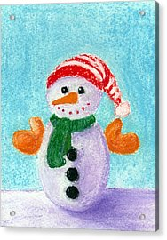 Little Snowman Acrylic Print by Anastasiya Malakhova