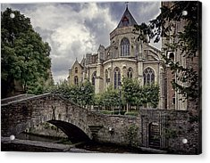 Little Stone Bridge By The Church Acrylic Print by Joan Carroll