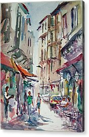 Acrylic Print featuring the painting Little Trip At Exotic Streets In Istanbul by Faruk Koksal