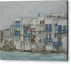 Little Venice Mykonos Greece Acrylic Print