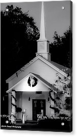 Little White Church Bw Acrylic Print