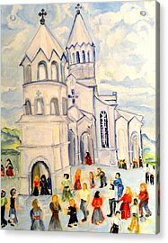 Little White Church Ghazanchetsots Cathedral Karabagh Armenia Acrylic Print by Helena Bebirian