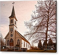 Little White Church Acrylic Print by MaryJane Armstrong
