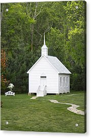 Little White Church Acrylic Print by Mike McGlothlen