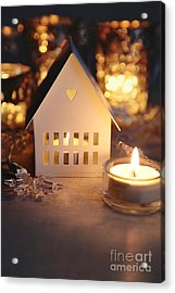 Acrylic Print featuring the photograph Little White House Lit With Candle For The Holidays by Sandra Cunningham