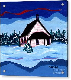 Acrylic Print featuring the painting Little White Schoolhouse by Joyce Gebauer