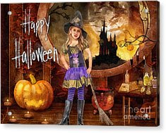 Little Witch Acrylic Print by Mo T