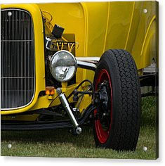 Little Yellow Coupe In Flushing Michigan Acrylic Print by Chris Spangler