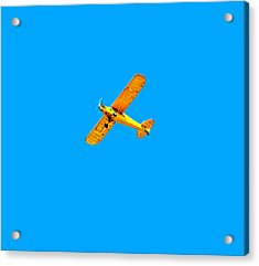 Acrylic Print featuring the photograph Little Yellow Flyer Plane by Tracie Kaska
