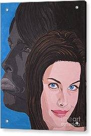 Acrylic Print featuring the painting Liv Tyler With Silhouet Steven Tyler by Jeepee Aero