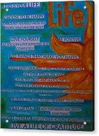 Live A Life Of Gratitude Acrylic Print by Patti Schermerhorn