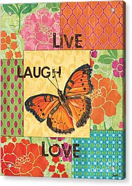 Live Laugh Love Patch Acrylic Print by Debbie DeWitt