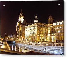 Liver Building And Canal Liverpool Uk Acrylic Print by Steve Kearns