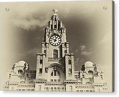 Liver Buildings On Liverpool Waterfront Acrylic Print by Ken Biggs