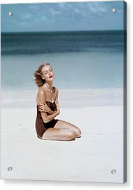 Liz Benn Sitting On A Beach Acrylic Print by John Rawlings