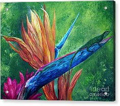 Acrylic Print featuring the painting Lizard On Bird Of Paradise by Eloise Schneider