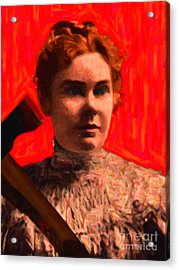 Lizzie Bordon Took An Ax - Painterly - Red Acrylic Print by Wingsdomain Art and Photography