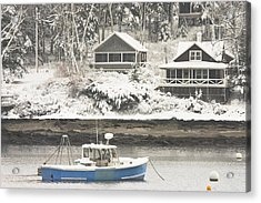Lobster Boat After Snowstorm In Tenants Harbor Maine Acrylic Print