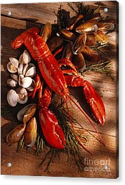 Lobster Clams And Mussels On Seaweed Acrylic Print by Iris Richardson