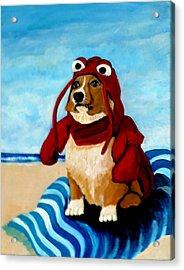 Lobster Corgi On The Beach Acrylic Print