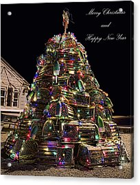 Acrylic Print featuring the photograph Lobster Trap Christmas Tree Card by Richard Bean