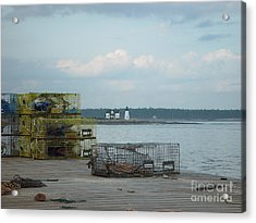 Lobster Traps At Prospect Harbor Wharf Acrylic Print by Christopher Mace