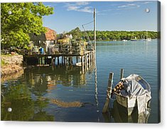 Lobster Traps On Pier In Round Pound On The Coast Of Maine Acrylic Print