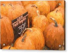 Local Field Pumpkins Painterly Effect Acrylic Print by Carol Leigh