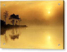 Loch Ard Morning Glow Acrylic Print by Grant Glendinning