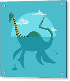 Acrylic Print featuring the digital art Loch Ness Monster by Michael Myers