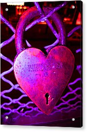 Lock Of Love In Pink Acrylic Print by Kym Backland