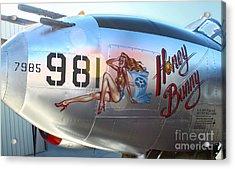 Lockheed P-38l Lightning Honey Bunny Nose Art - 05 Acrylic Print by Gregory Dyer
