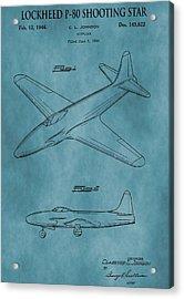 Lockheed P-80 Patent Blue Acrylic Print