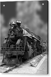 Locomotive 639 Type 2 8 2 Front And Side View Bw Acrylic Print by Thomas Woolworth