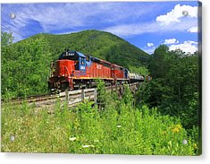Locomotive And River Valley Acrylic Print by John Burk