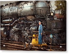Locomotive - The Gandy Dancer  Acrylic Print by Mike Savad