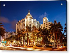 Loews And St. Moritz Hotel On Collins Avenue At Dawn - Miami Beach Florida Acrylic Print