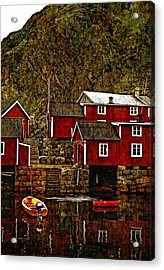 Lofoten Fishing Huts Overlay Version Acrylic Print by Steve Harrington