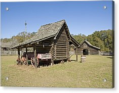 Acrylic Print featuring the photograph Log Cabin And Barn by Charles Beeler
