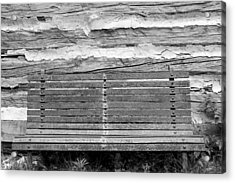 Log Cabin Bench 1 Black And White Acrylic Print by Mary Bedy