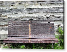Log Cabin Bench 1 Acrylic Print by Mary Bedy