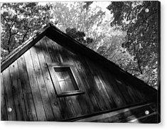 Log Cabin Bw Version Acrylic Print by Sheryl Burns
